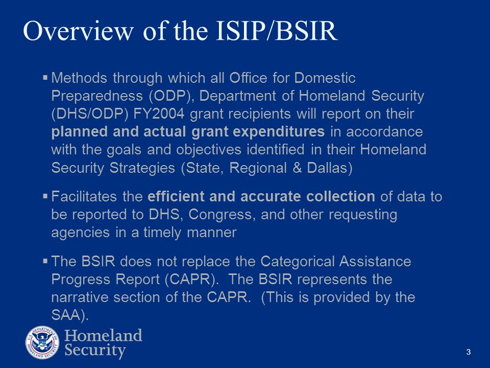 Overview of the ISIP/BSIR