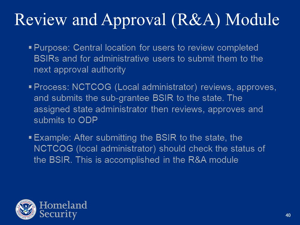 Review and Approval (R&A) Module