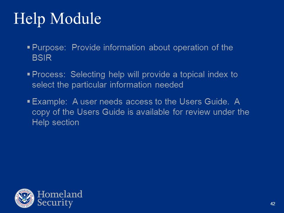 Help Module Purpose: Provide information about operation of the BSIR