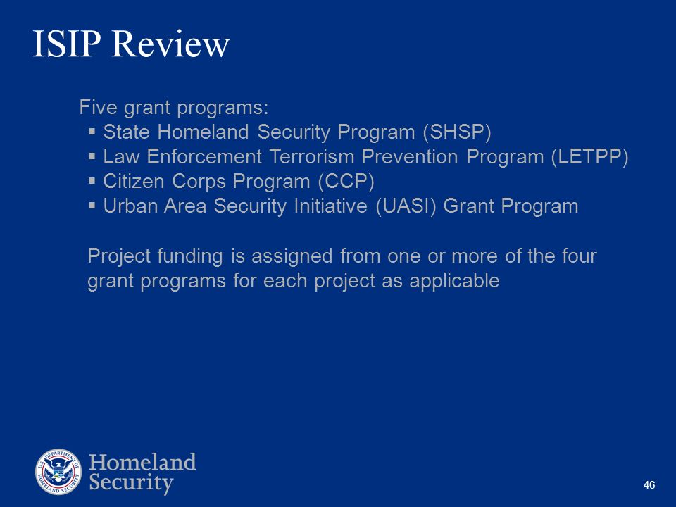 ISIP Review State Homeland Security Program (SHSP)