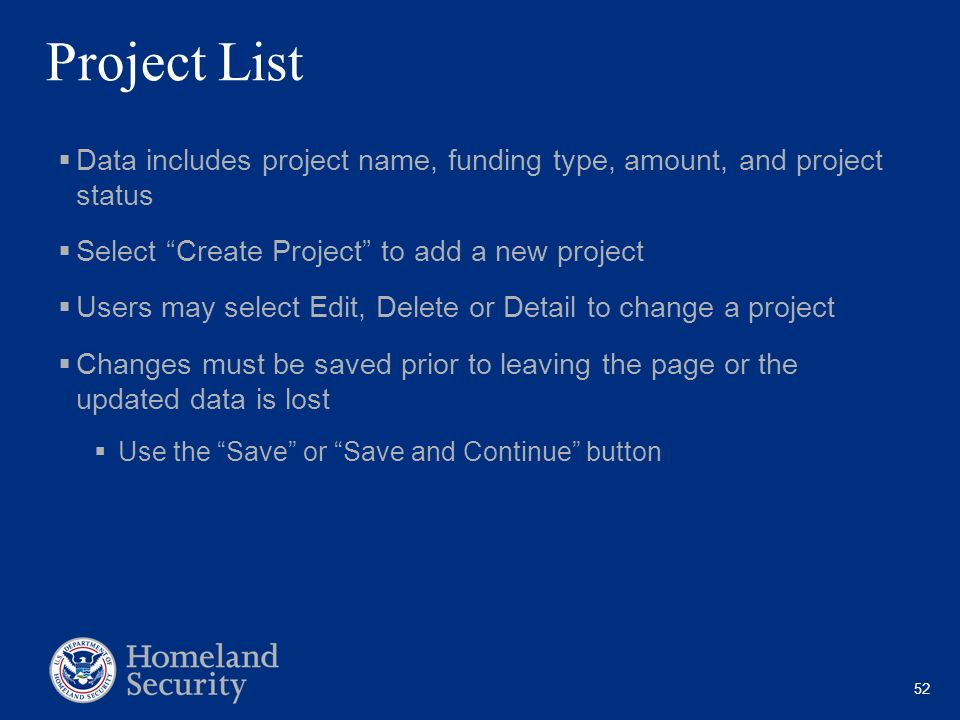 Project List Data includes project name, funding type, amount, and project status. Select Create Project to add a new project.