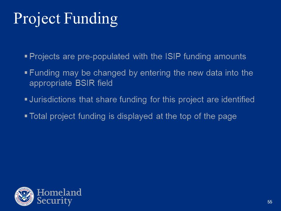 Project Funding Projects are pre-populated with the ISIP funding amounts.