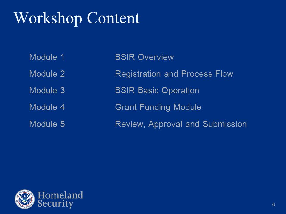 Workshop Content Module 1 BSIR Overview