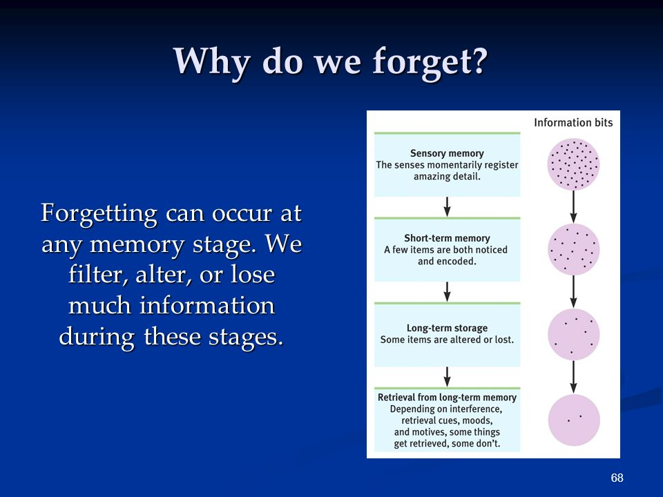 Why do we forget. Forgetting can occur at any memory stage.