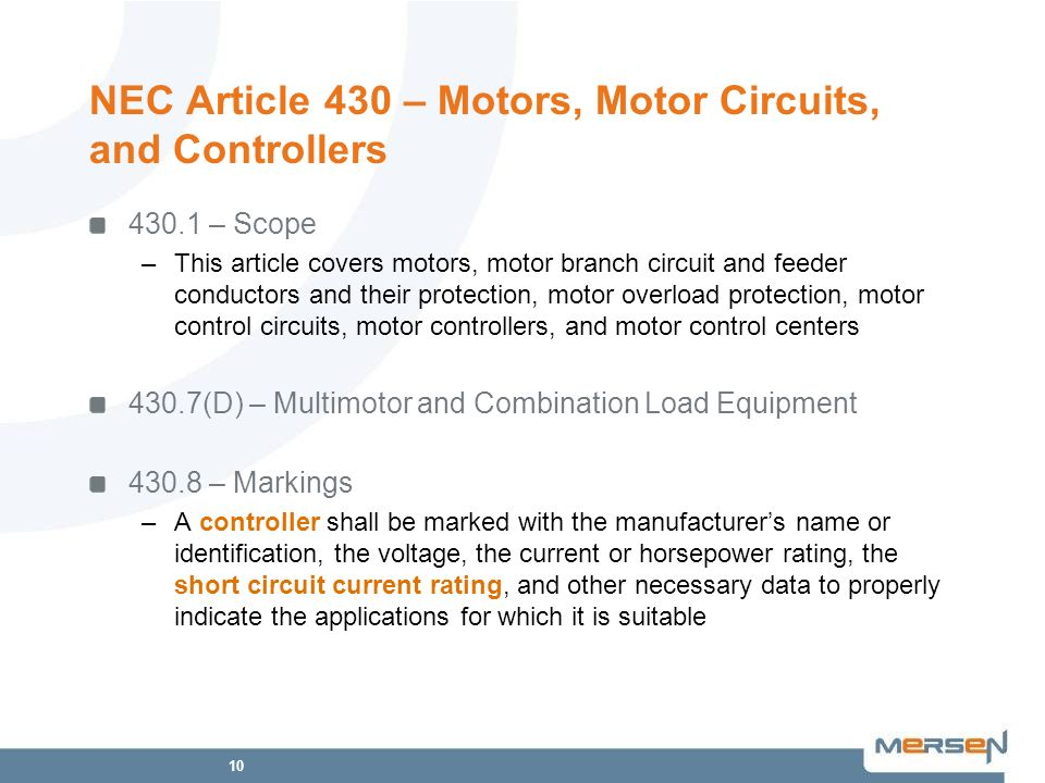 NEC Article 430 – Motors, Motor Circuits, and Controllers