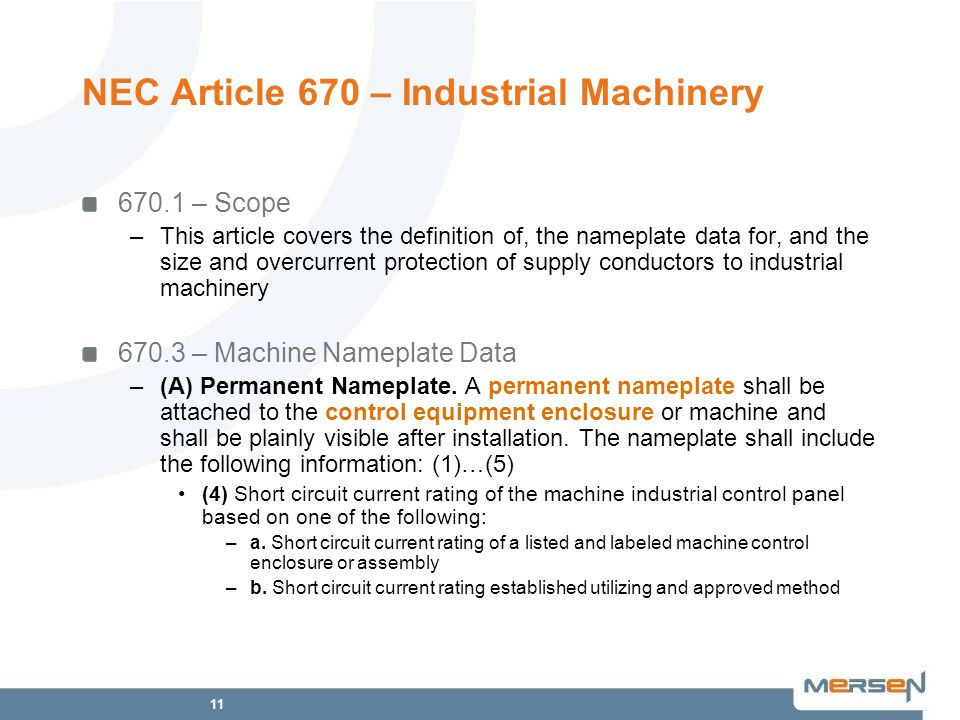 NEC Article 670 – Industrial Machinery