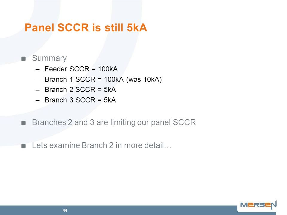 Panel SCCR is still 5kA Summary