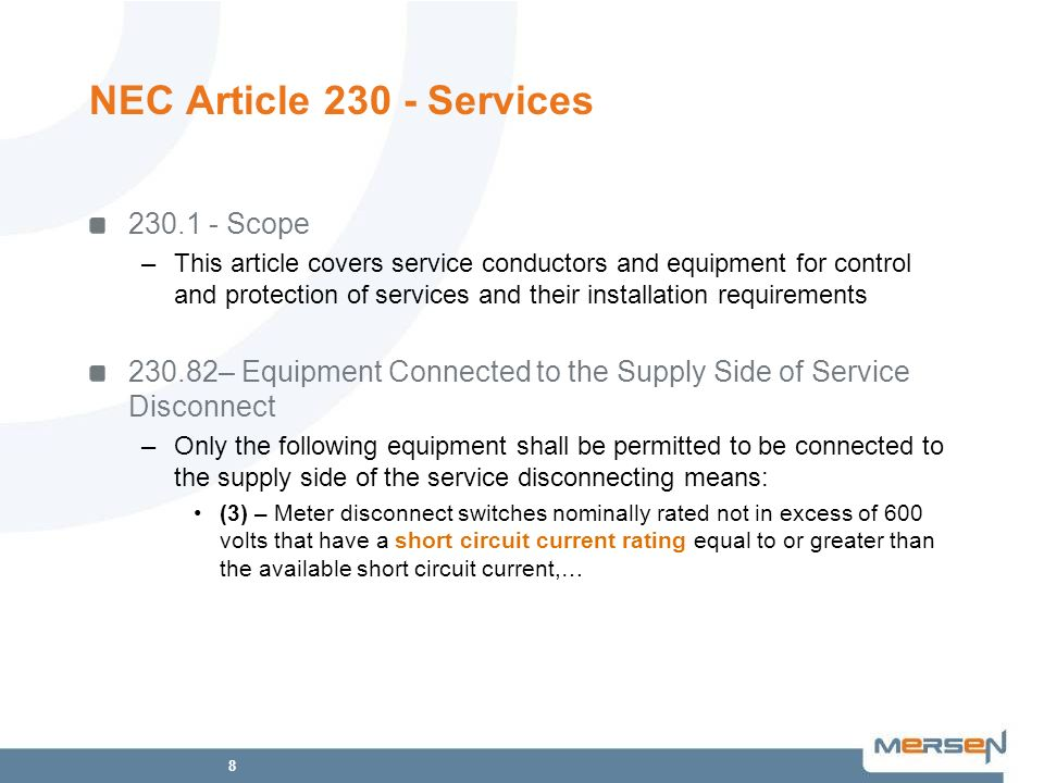 NEC Article 230 - Services 230.1 - Scope