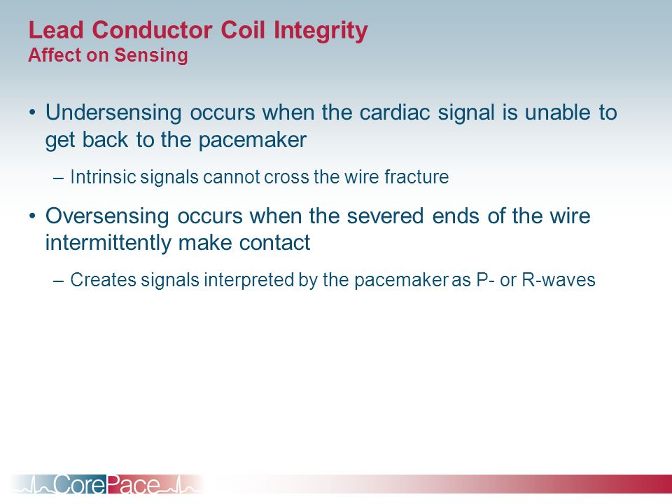 Lead Conductor Coil Integrity Affect on Sensing