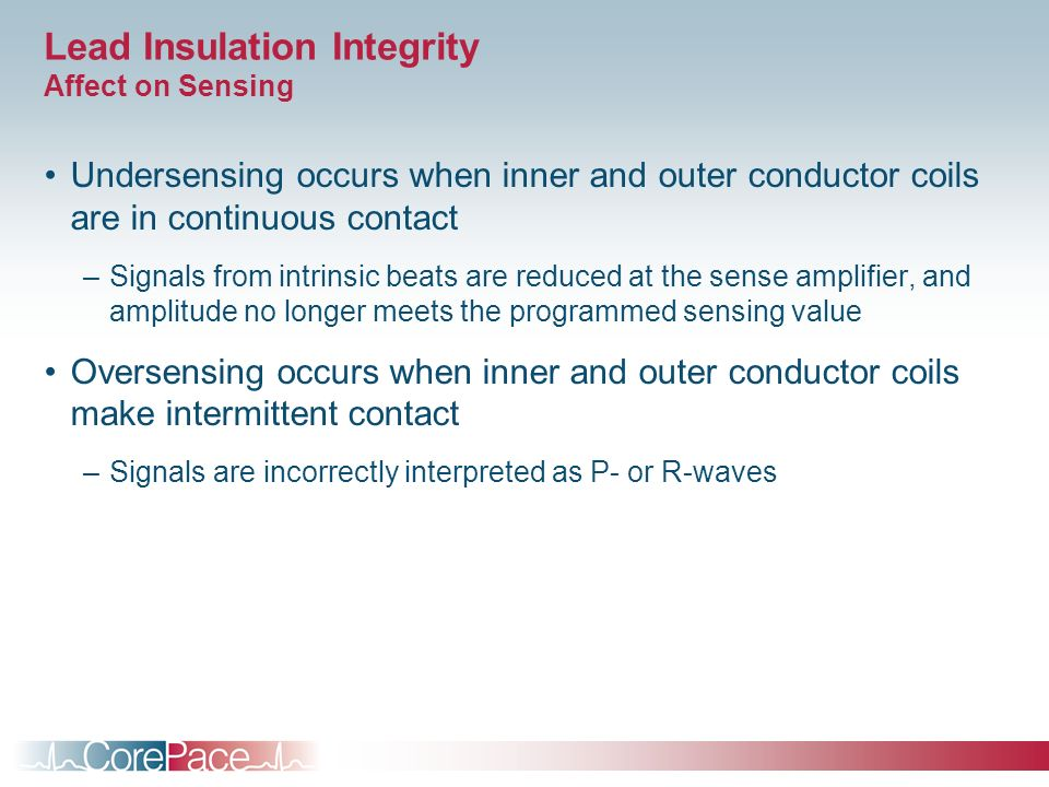 Lead Insulation Integrity Affect on Sensing