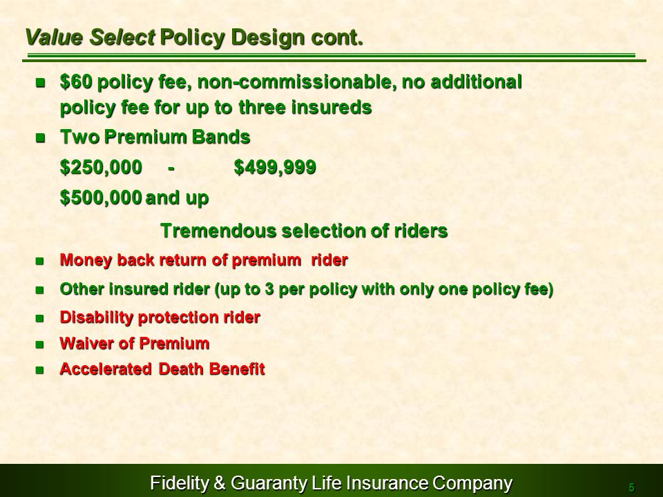 Value Select Policy Design cont.
