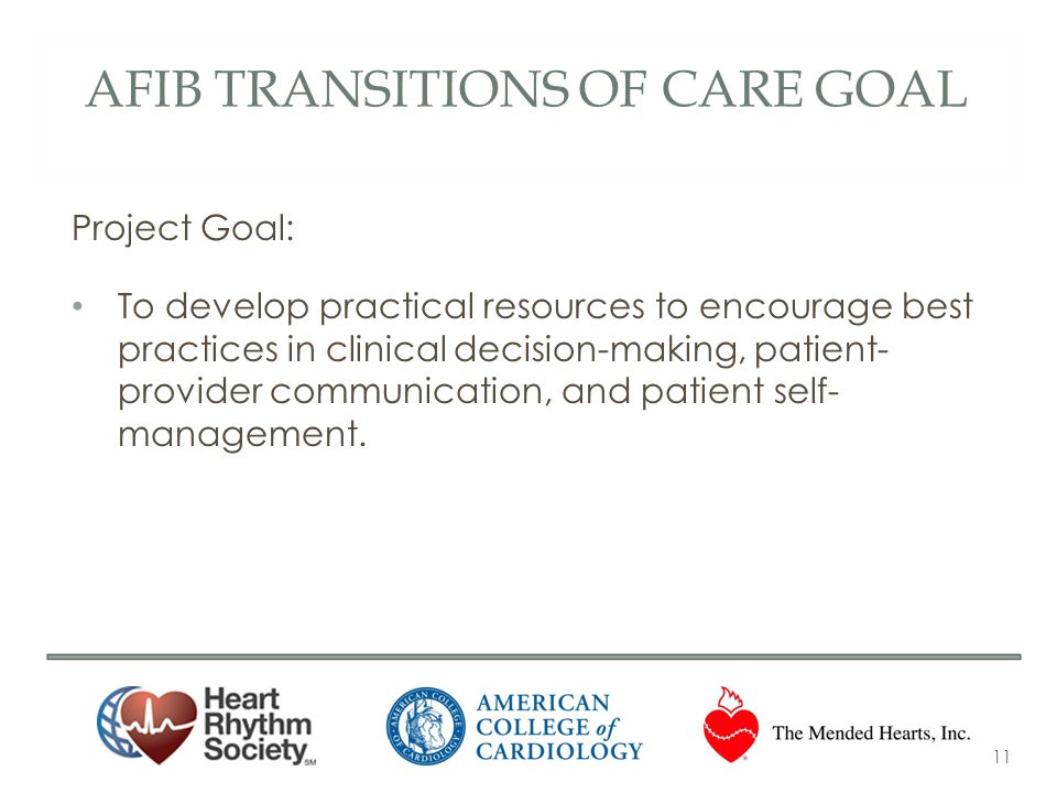 Afib transitions of care goal