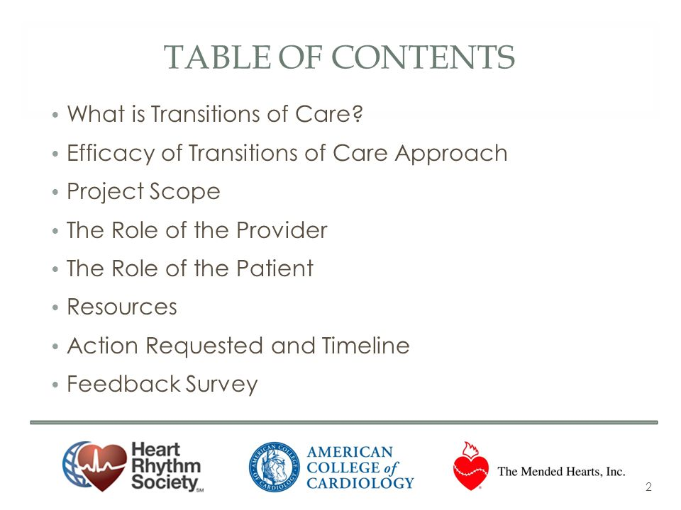 Table of Contents What is Transitions of Care