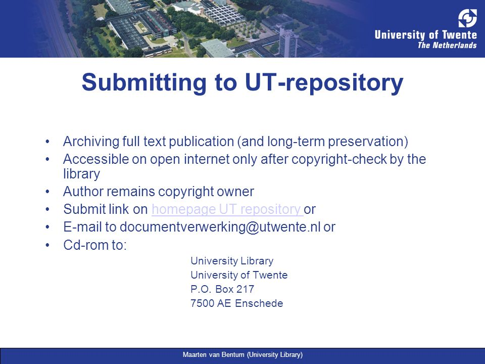 Submitting to UT-repository