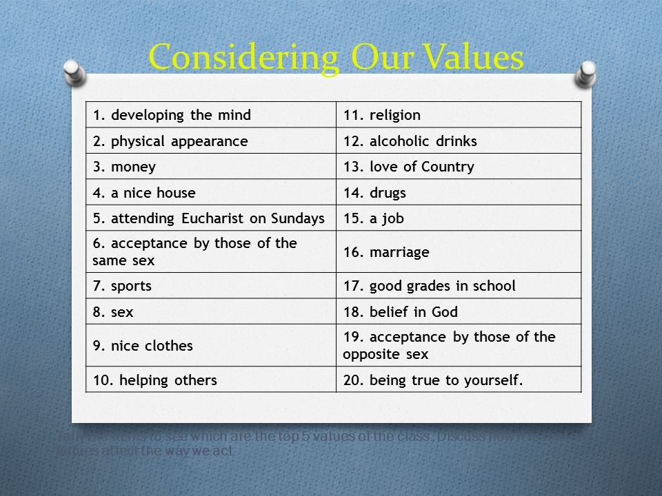 Considering Our Values