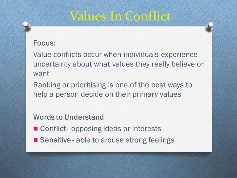 Values In Conflict Focus: