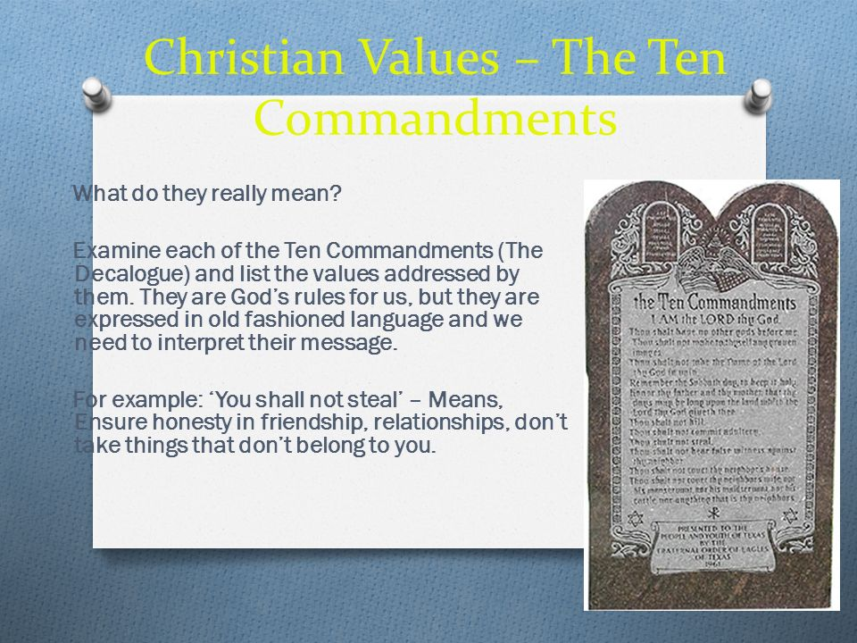 Christian Values – The Ten Commandments