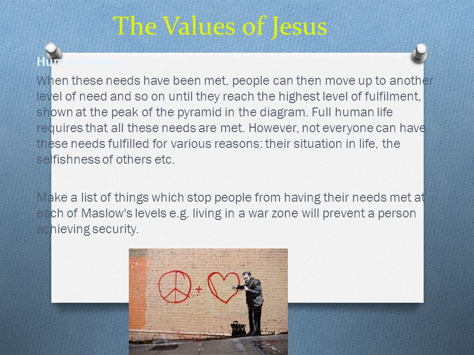 The Values of Jesus Human Needs