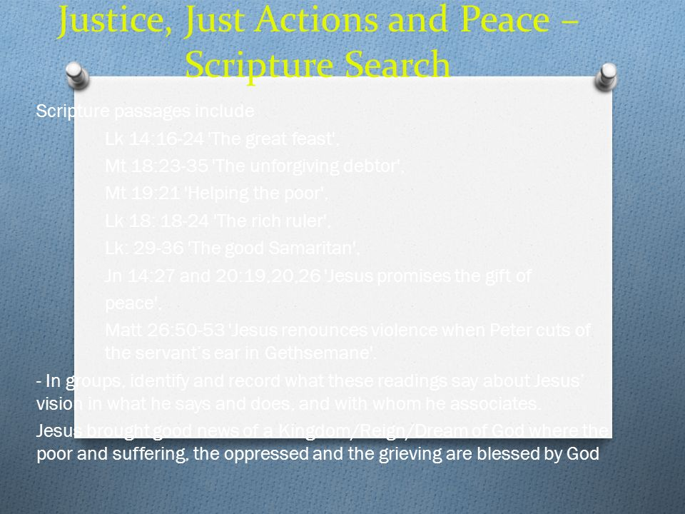 Justice, Just Actions and Peace – Scripture Search