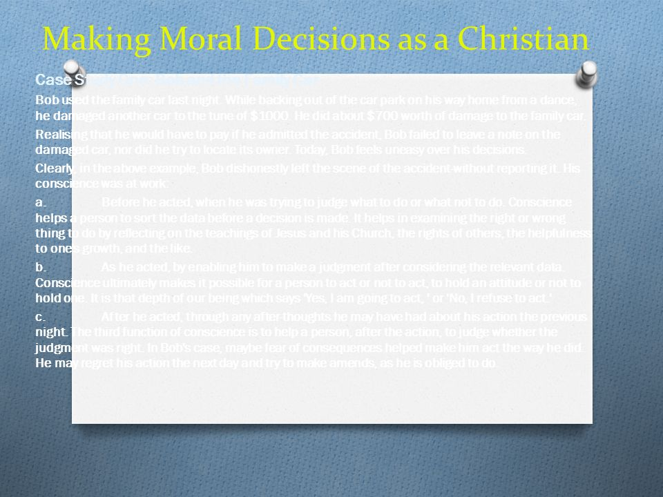 Making Moral Decisions as a Christian