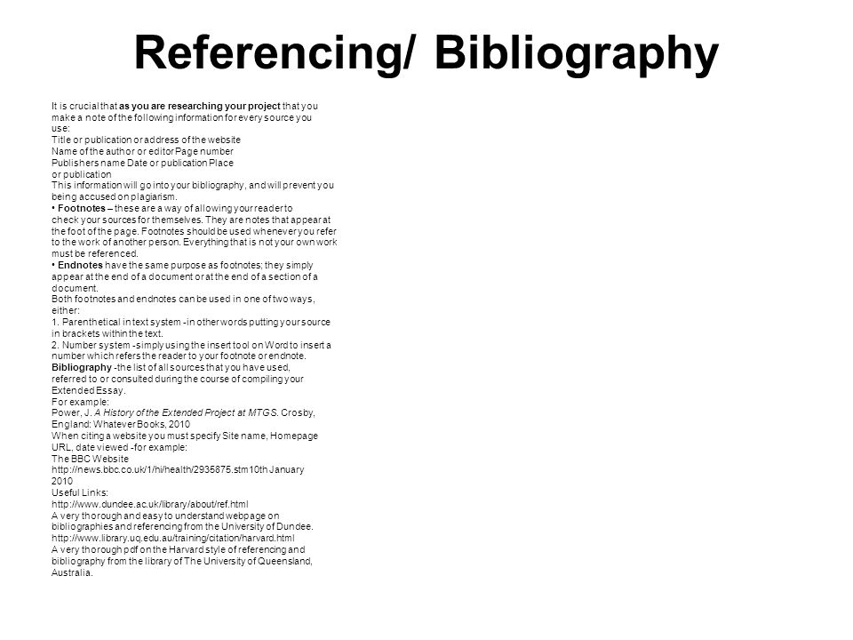 how to make bibliography for project