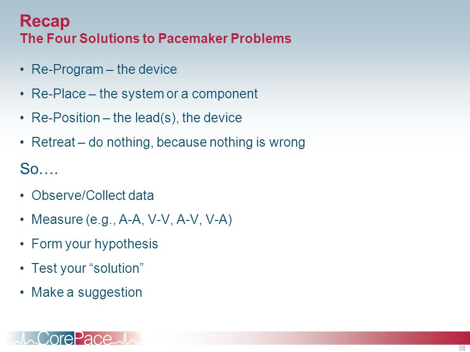 Recap The Four Solutions to Pacemaker Problems