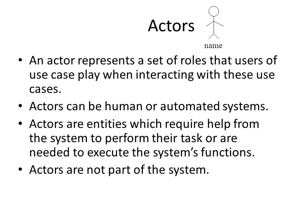 Actors name. An actor represents a set of roles that users of use case play when interacting with these use cases.