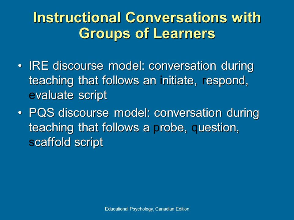 Instructional Conversations with Groups of Learners