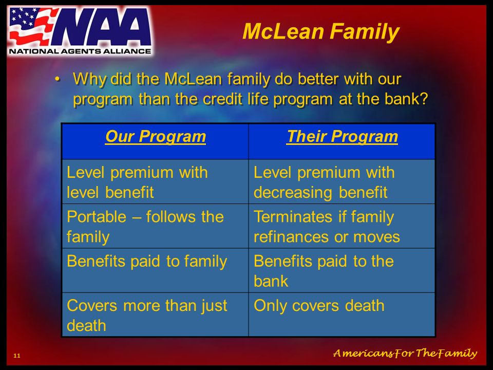 McLean Family Why did the McLean family do better with our program than the credit life program at the bank