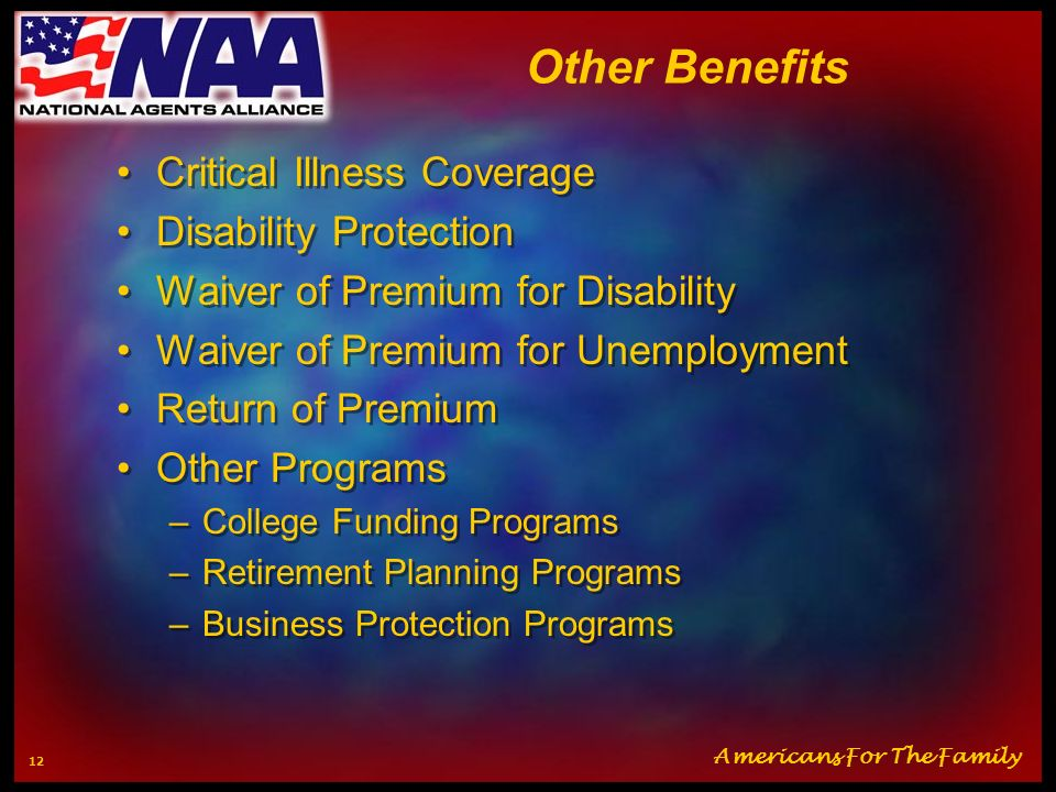 Other Benefits Critical Illness Coverage Disability Protection