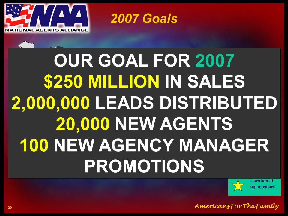 OUR GOAL FOR 2007 $250 MILLION IN SALES 2,000,000 LEADS DISTRIBUTED
