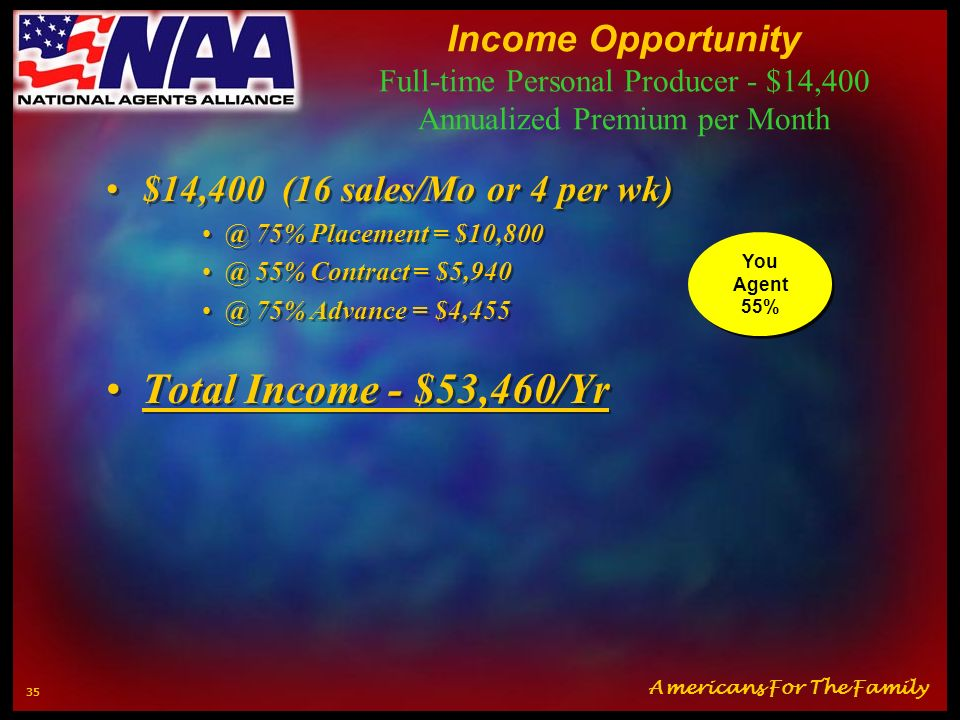 Income Opportunity Full-time Personal Producer - $14,400 Annualized Premium per Month