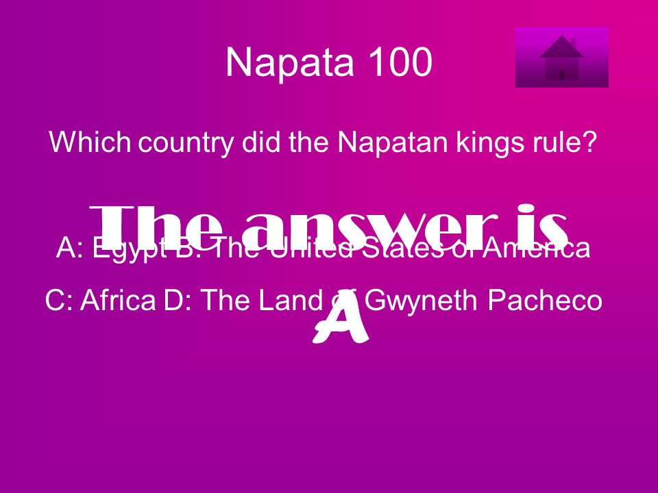 A The answer is Napata 100 Which country did the Napatan kings rule