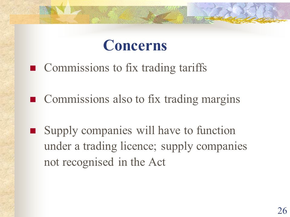Concerns Commissions to fix trading tariffs