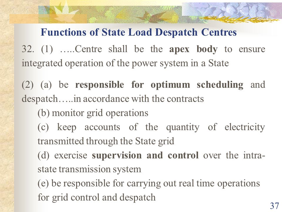 Functions of State Load Despatch Centres
