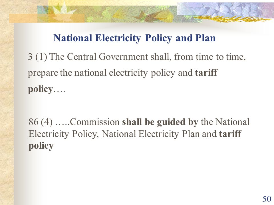 National Electricity Policy and Plan