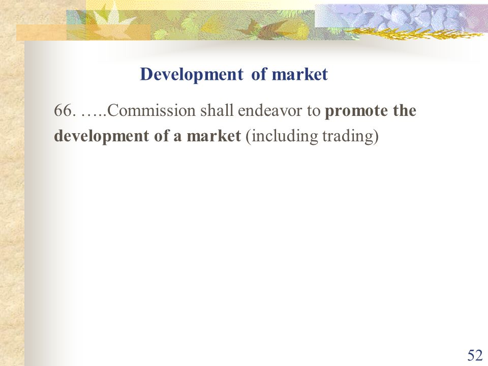 Development of market 66.