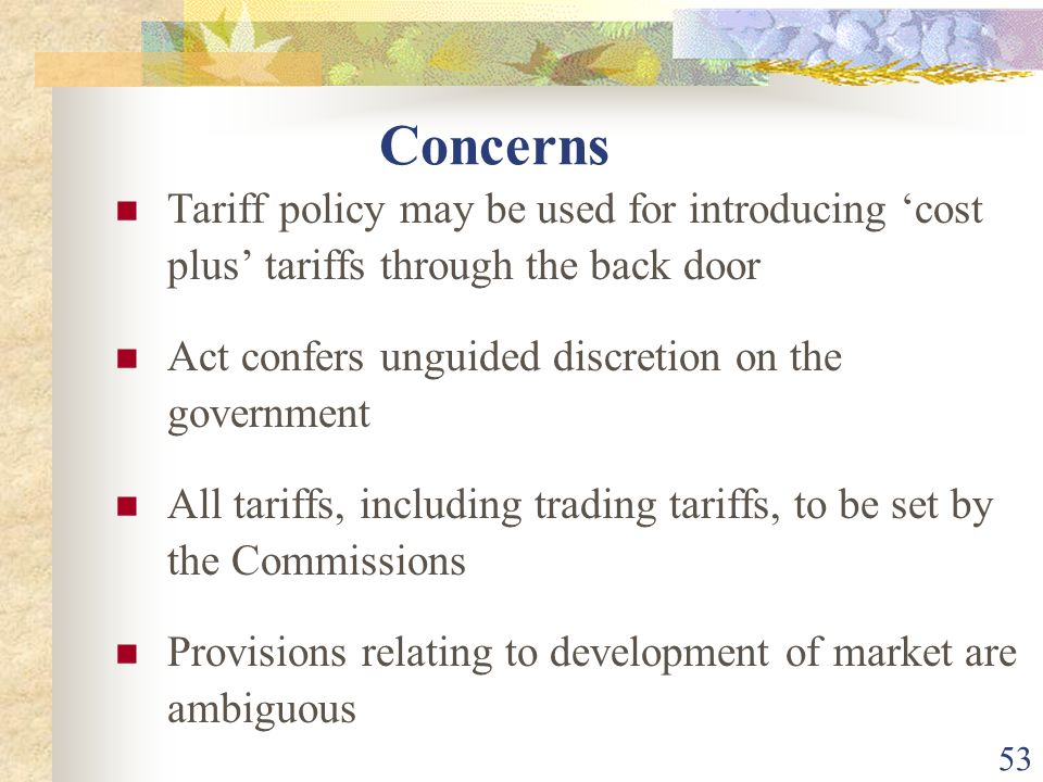 Concerns Tariff policy may be used for introducing 'cost plus' tariffs through the back door. Act confers unguided discretion on the government.