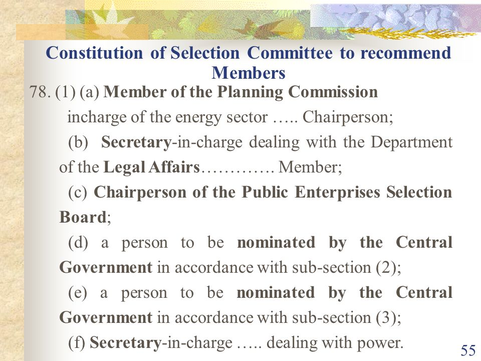 Constitution of Selection Committee to recommend Members