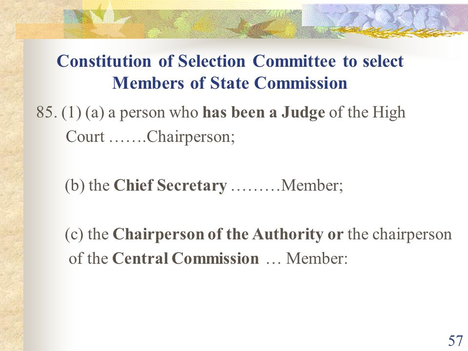 Constitution of Selection Committee to select Members of State Commission