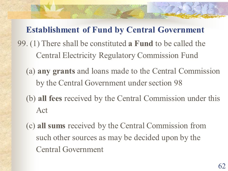 Establishment of Fund by Central Government