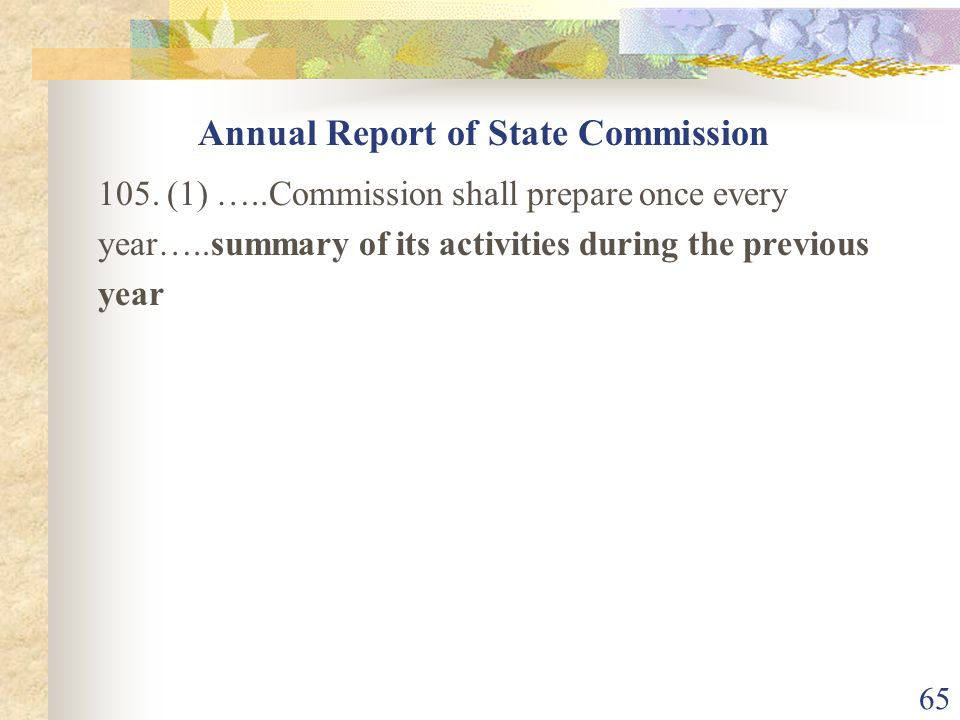 Annual Report of State Commission