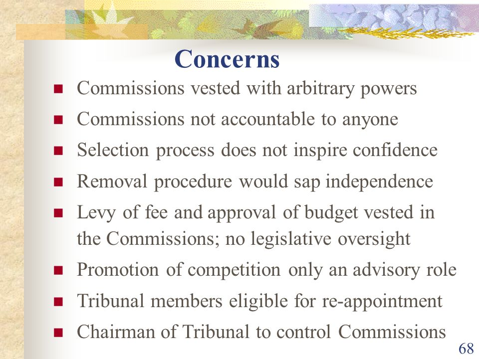 Concerns Commissions vested with arbitrary powers
