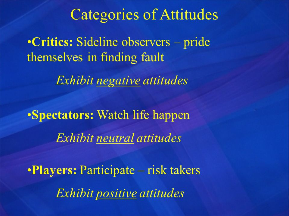 Categories of Attitudes