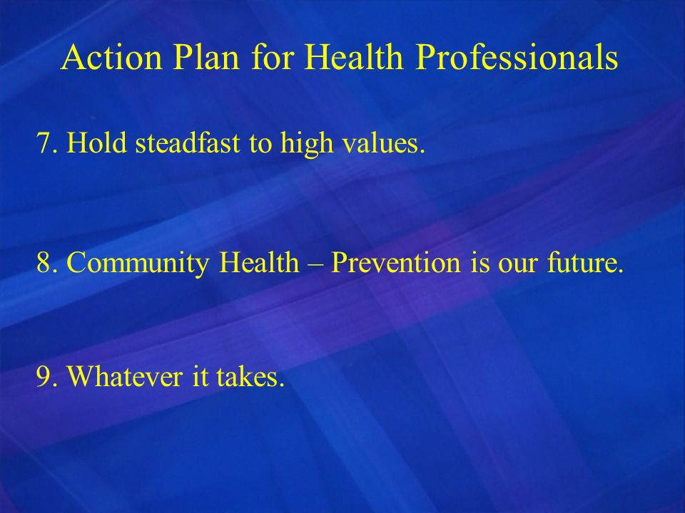 Action Plan for Health Professionals