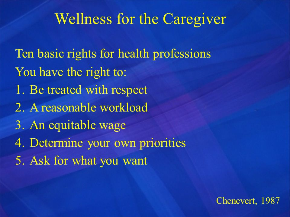 Wellness for the Caregiver