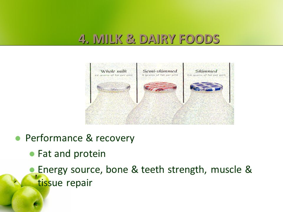 4. MILK & DAIRY FOODS Performance & recovery Fat and protein