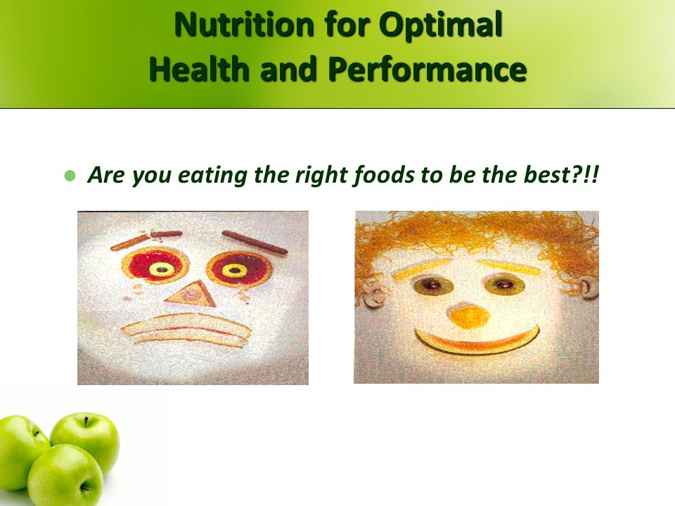 Nutrition for Optimal Health and Performance