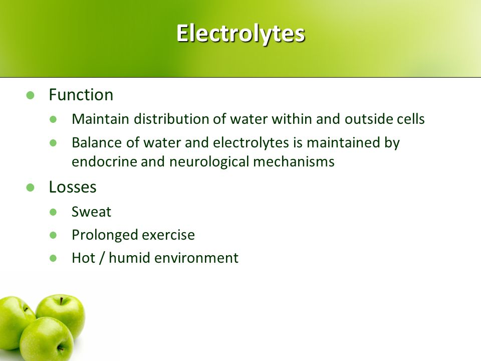 Electrolytes Function Losses