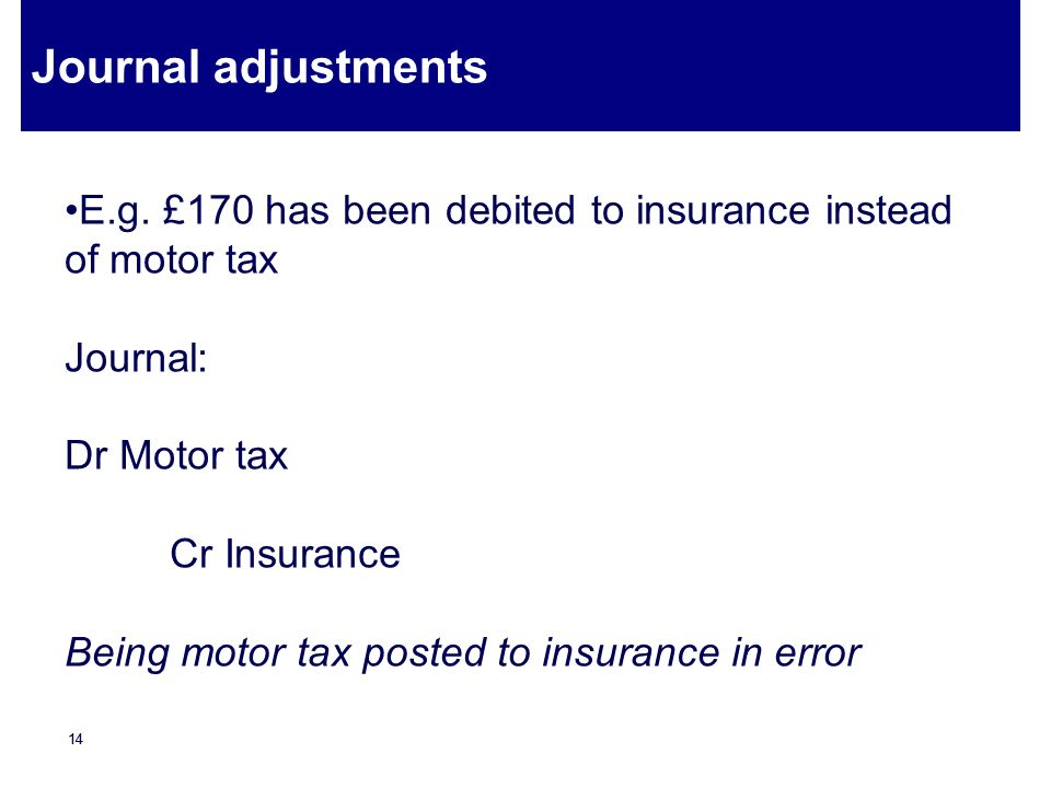Journal adjustments E.g. £170 has been debited to insurance instead of motor tax. Journal: Dr Motor tax.